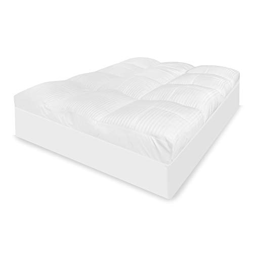 BioPEDIC 5-Inch 500 Thread Count Tencel Fiber Queen Mattress Topper, White