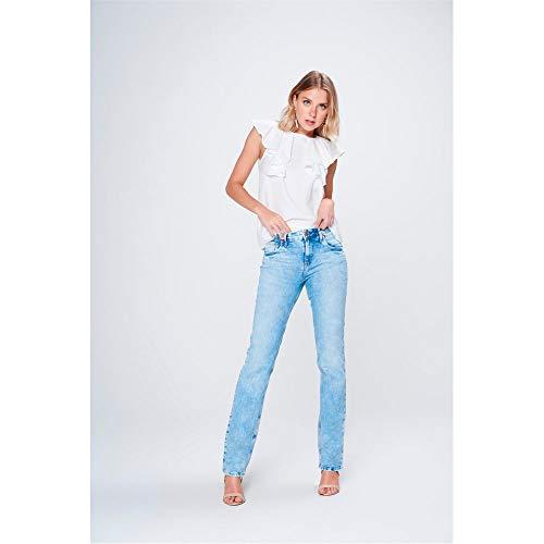 57603e0ed Calça Jeans Reta Básica de Cintura Alta Tam  46   Cor  BLUE