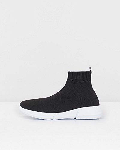 Bianco Damen Knit Hightop Hohe Sneaker Schwarz (Black)