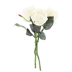 "Larksilk Bouquet of 3 Artificial Roses, 12"" (Cream) 50"