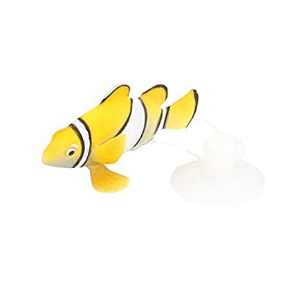 eDealMax acuario ventosa simulado flotante pescado decoración Naranja Blanco
