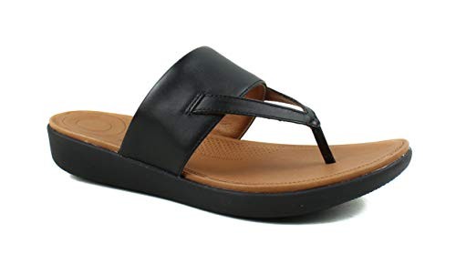 FitFlop Womens Delta Toe Thong Leather Sandal Shoes, Black, US 7