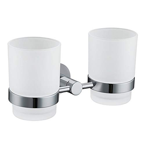 Double Toothbrush Holder, Angle Simple Stainless Steel Toothbrush Holder Rinsing Cups Drinking -