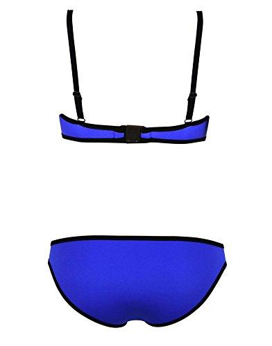 Womens Color Block Push Up Padded Triangle Bikini Set Swimsuit Swimwear