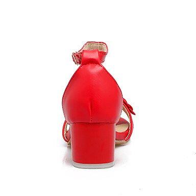 LvYuan Mujer Sandalias Pump Básico Cuero PVC PU Verano Boda Vestido Fiesta y Noche Pump Básico Cuentas Hebilla Tacón Robusto Blanco Rojo Rosa2'5 White