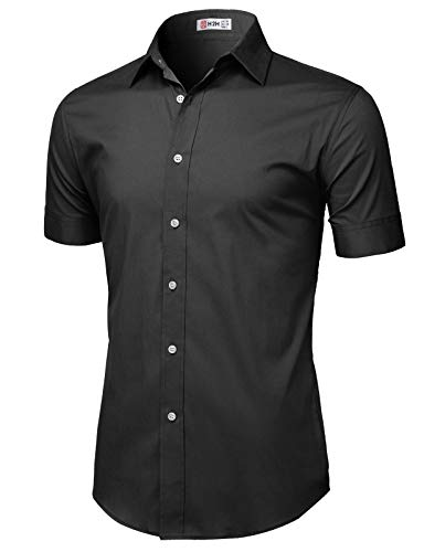 H2H Mens Casual Slim Fit Button-Down Dress Shirts Short Sleeves Solid Colors Black US 2XL/Asia 3XL (KMTSTS0135)