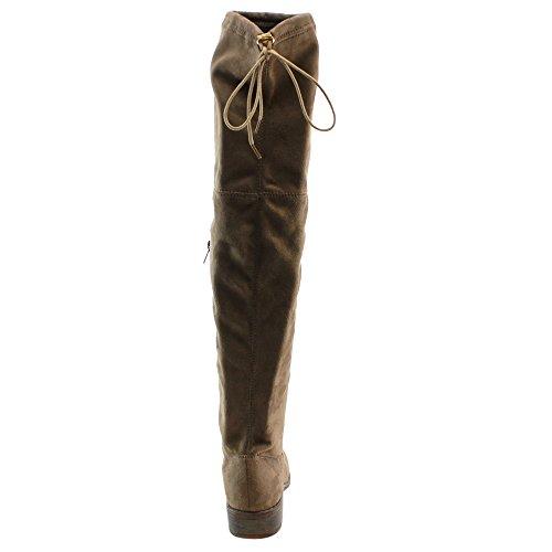BESTON FD97 Damen Stretchy Overknee Block Ferse Kleid Stiefel halbe Größe klein Taupe