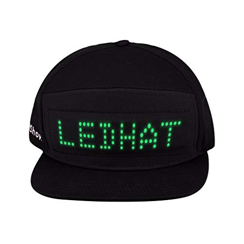 Hefu Green LED Light Smart Cap_Fashion Mobile Phone Smartphone Controlled Display Screen LED Hat Adjustable Flat Peak LED Cool Hat for Christmas Halloween Party Club (Black) -