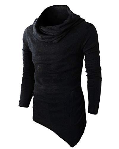 BELLEZIVA Mens Asymmetrical Sweaters Slim fit Long Sleeve Knitwear Asymmetrical Hem Shirt Cowl Neck Sweatshirt Casual ()