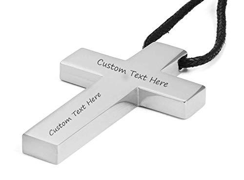 VNOX Custom Engraving Stainless Steel 3D Cross Pendant Nylon Rope Necklace for Jesus Christ Lord Prayer]()