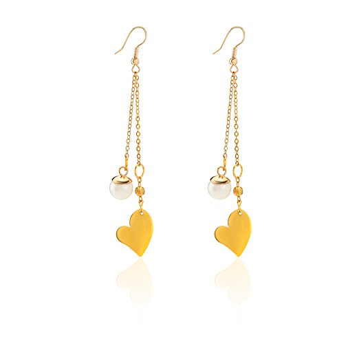 JIAN.C Heart-shaped and Pearl Long Earrings for Woman for Girl ()