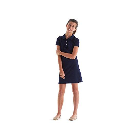 French Toast Girls' Big Short Sleeve Ruffle Placket Polo Dress, Navy, M (7/8) by French Toast (Image #2)
