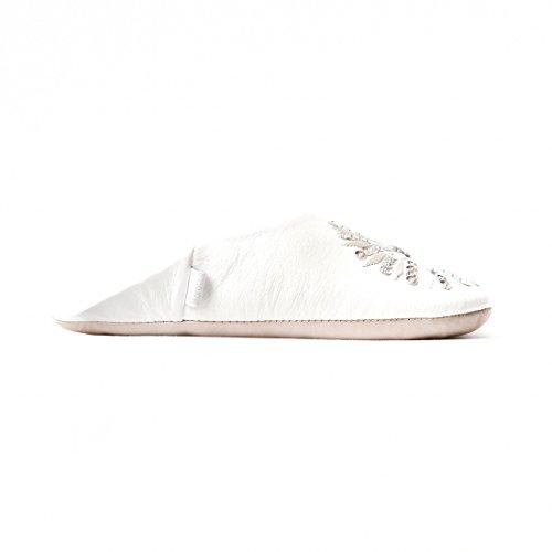 Pantofole In Pelle Di Pecora Spangle Babbo Cara Marocchino Bianco