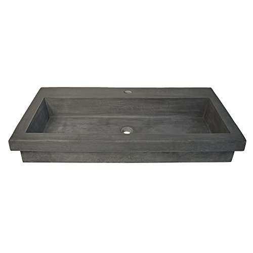 (Native Trails NSL3619-S Native Stone Trough Bathroom Sink, 36