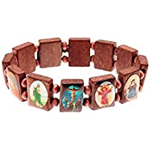 CHRISTIAN WOODEN BRACELET WITH RELIGIOUS