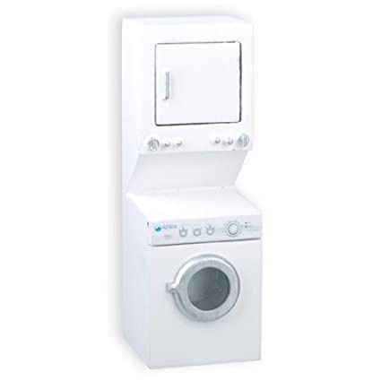 Amazon.com: Casa de muñecas miniatura blanco apilar lavadora ...