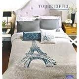 Limited Time Only Paris Eiffel Reversible Comforter Set Queen
