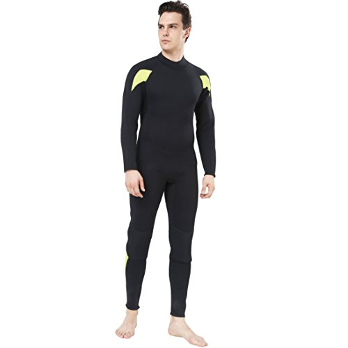 Mens 3mm Full Suit Wetsuit for Scuba Diving, Dark Lightning Snorkeling Surfing Thick and Warm Jumpsuit for Multi Watersports (S Size for - Mens Wetsuit