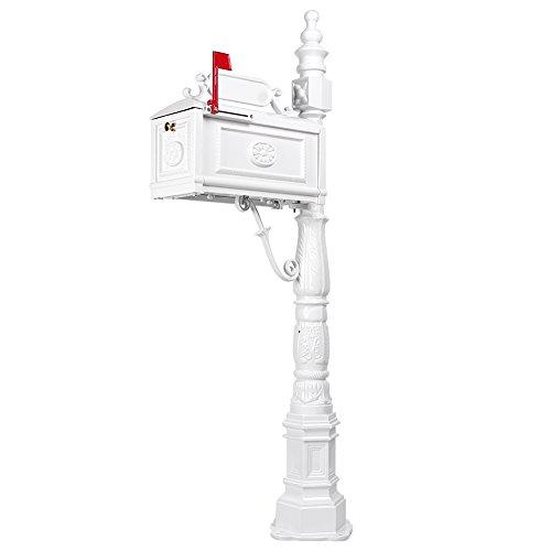 Mallofusa Mount Mailbox Post System, Heavy Duty Decorative Cast Aluminum Rust-Proof Postal Box Combo Kit - Mailbox Post System