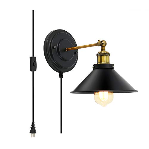 Lightess Black Sconces Plug in Edison Wall Lights Industrial Simplicity Brass Finish Arm Swing Barn Famhouse Lighting ()