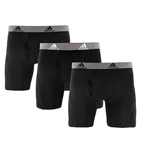 adidas Men's Climalite Perfromance Boxer Briefs 3 Pack (Large, Black-Black-Black) from adidas