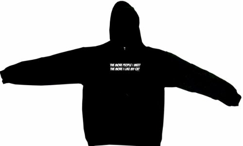 The More People I Meet The More I Like My Cat Men's Hoodie Sweat Shirt Large, Black