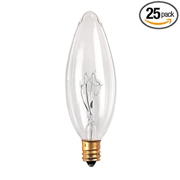 Bulbrite 25CTC/32/3-25PK 25W 130V Incandescent Torpedo 32mm, Clear ...