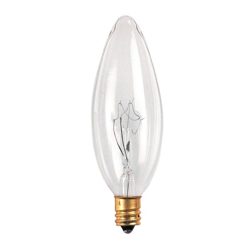 25mm Clear Bulbrite 25CTC//25//2 25-Watt 120-Volt Incandescent Torpedo Chandelier Bulb