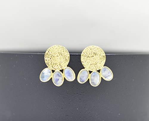 Oval Rainbow Moonstone Ear Studs Gold, White Gemstone Earring, Bohemian Hammered Coin Stud Earrings, Texture Ear Studs Boho, Circle Stud