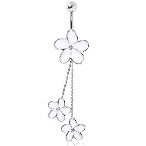 White Industries Daisy (316L Surgical Steel Enameled White Daisies Chained Navel Ring)