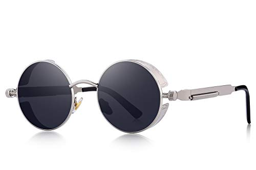 MERRY'S Gothic Steampunk Sunglasses for Women Men Round Lens Metal Frame S567(Silver&Black, 46)