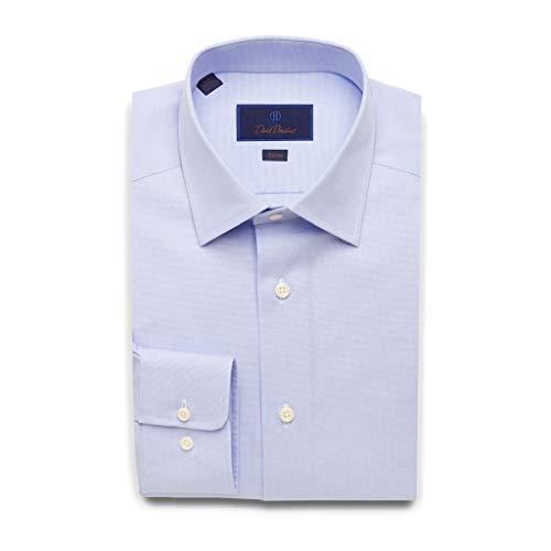 (David Donahue Mens Slim Fit Micro Dobby Weave Dress Shirt,Sky Blue,17