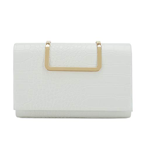 Charming Tailor Small Crocodile Handbag PU Cross Body Bag Croc Top Handle Satchel Women's Clutch Purse (White)