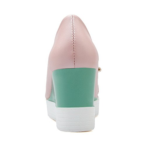 on Women's Color WeenFashion PU Assorted Pink Pull Pumps Shoes Round Toe Closed High Heels vqwqUg6