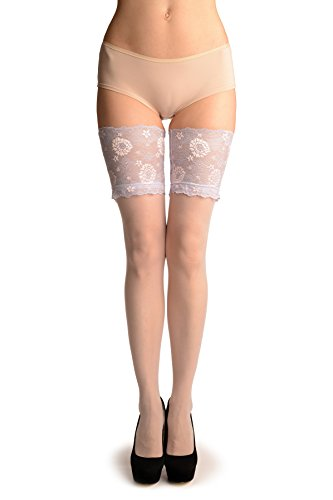 White With Dotted Seam & Lilac Floral Silicon Lace - Hold Ups - Blanco Medias autoadhesivas Talla unica (34-38)