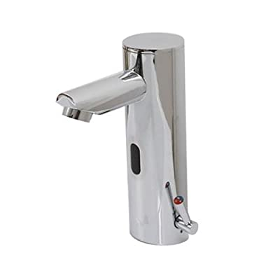 Home Deck Mount Touch Free Automatic Sensor Sink Faucet with Temperature Control Handle Chrome Single Hole Straight Spout Bar Faucet Lavatory Plumbing Fixtures Bathtub Mixer Taps Bath Shower Faucets Ceramic Valve Included