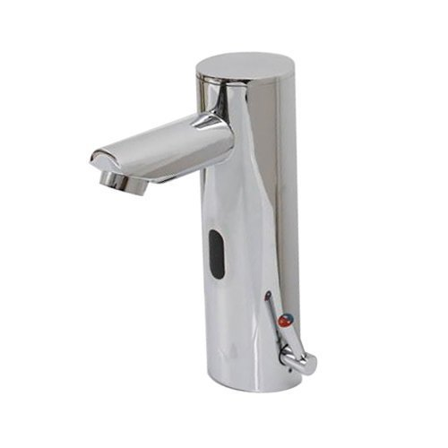 Home Deck Mount Touch Free Automatic Sensor Sink Faucet With Temperature Control Handle Chrome