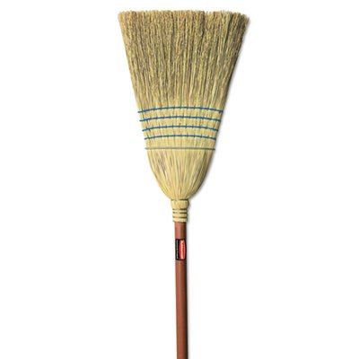 - Rubbermaid Commercial Warehouse Heavy-Duty Corn Broom, 1 1/8 Inch Wood Handle, Blue (FG638300BLUE)