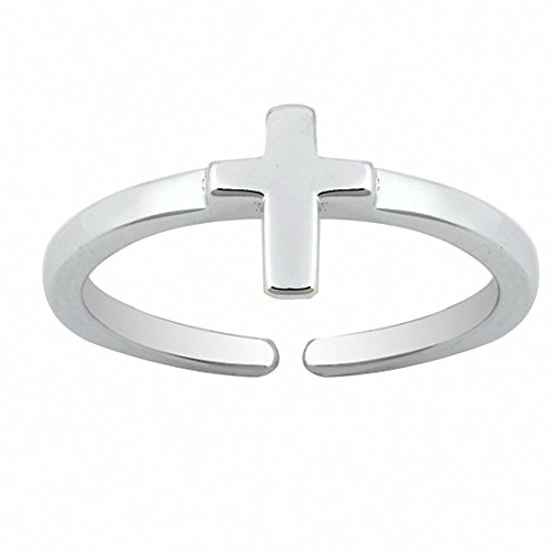 Blue Apple Co. Cross Toe Ring Band 925 Sterling Silver by Blue Apple Co.