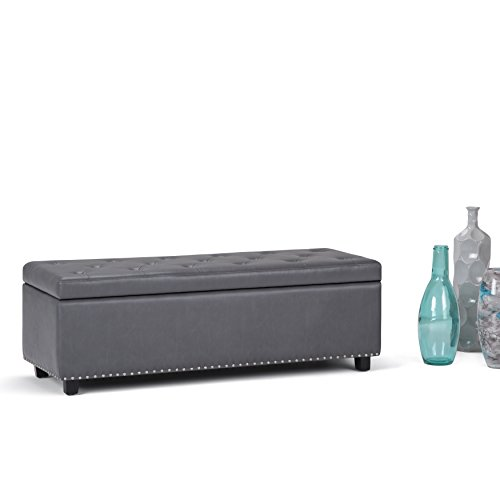 WyndenHall Springfield Tufted Storage Ottoman Stone Grey Faux Leather, Wood, Foam by Wynden Hall