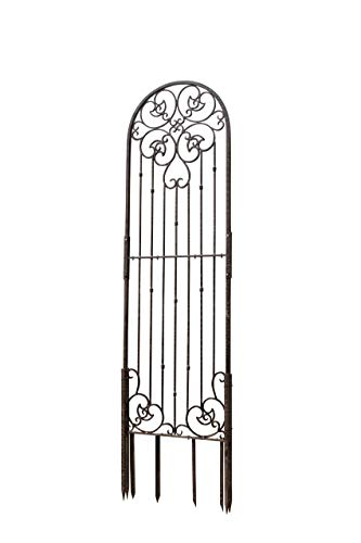 (H Potter 8 Foot Tall Garden Trellis Wrought Iron Heavy Scroll Metal Decoration Lawn, Patio & Wall Decor Screen for Rose, Clematis, Ivy Weather Resistant Patio Deck Wall Art (X-Large))