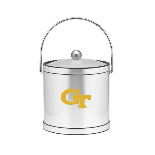 Tech Ice Bucket (NCAA Georgia Tech Yellow Jackets Brushed Chrome Mylar Ice Bucket with Acrylic Cover, 3-Quart)