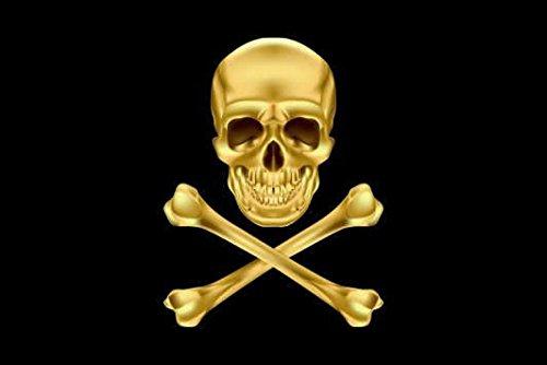 U24 Drapeau du Pirate Cross Bone or haute qualité pour bateau drapeau 150 x 250 cm