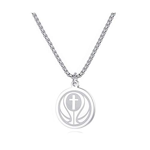 DEO JEWELRY Free Engraving Personalized Custom Necklace by Pendant Sports Basketball Christian Cross with Athlete Medal