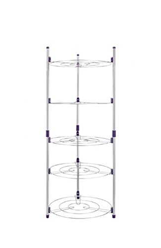 EZ Breezy Home Stainless Steel 5 Rack Pan and Pot Shelf Storage Tower. Instant Shelves for Storage of Instapot, Crock Pot, Stock Pot, Dish Pan, Cast Iron Skillet, Lids and More. Includes 5 S Hooks by EZ Breezy Home