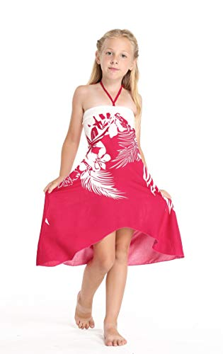 Girl Hawaiian Halter Dress in Indri Pink Size 10