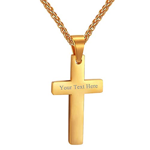 PROSTEEL Gold Cross Necklace 18K Plated Personalized Men Women Engrave Custom Name Inspirational Catholic Faith Religious Christian Jewelry