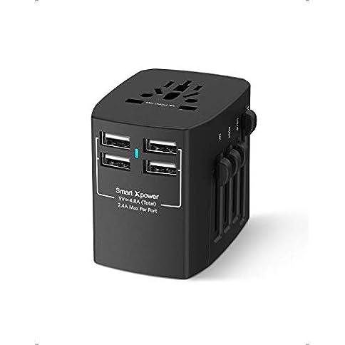 - 31JcroK ZeL - Xcentz Universal Travel Adapter, 4 USB Ports 4.8A Wall Charger Power Adapter AC Plug Adapter, 2000W High Power All in One Travel Adapter for USA EU UK AUS European Cell Phone Tablet Laptop