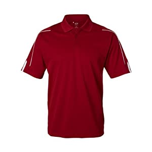 Adidas Golf Men's ClimaLite 3-Stripes Cuff Polo Sport Shirt. A76 - Large - University Red / White