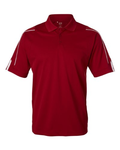 Adidas Golf Men's ClimaLite 3-Stripes Cuff Polo Sport Shirt. A76 - XX-Large - University Red / White